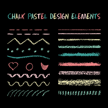 separators: Set of chalk strokes, curved lines, banners and separators. Handmade design elements on chalkboard background. Grunge illustration.