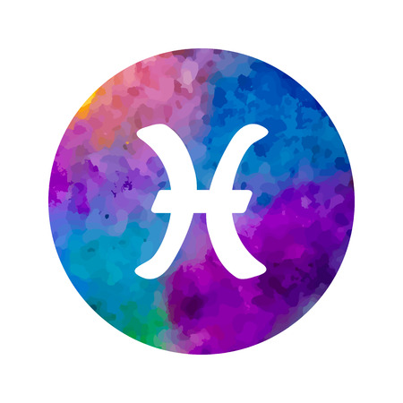 Sign of the zodiac Pisces on watercolor background. Vectores