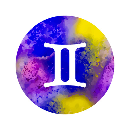 Sign of the zodiac Gemini on watercolor background.