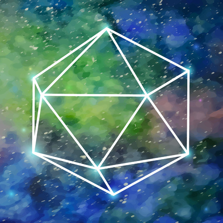 octahedron: Abstract geometric background with octahedron .Space with many stars. Watercolor background. Hipster background. illustration.