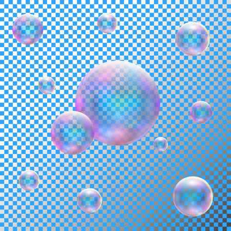 cleanness: Transparent realistic soap bubbles. Isolated vector illustration