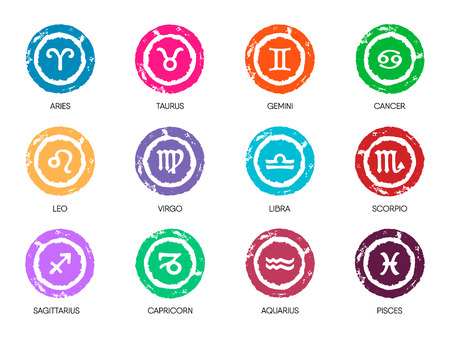 Zodiac Symbol icons on color background. Vector illustration.