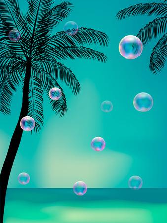 sensation: Summer background with transparent bubbles. Beach Party Flyer. Vector Design