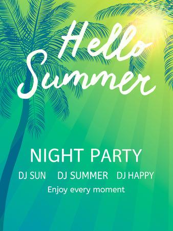 beach party: Hello Summer Beach Party Flyer. Vector Design
