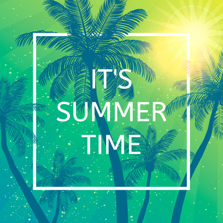 Its Summer time wallpaper, fun, party, background,  picture, art, design, travel, poster, event. Vector illustration