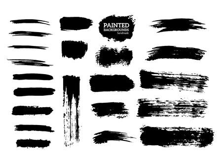 Painted grunge stripes set. Black labels, background, paint texture. Brush strokes vector. Handmade design elements. Vetores