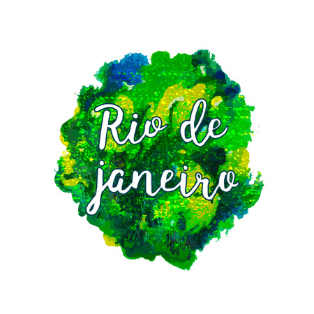 janeiro: Hand drawn Inscription Rio de Janeiro Brazil vacation on a background watercolor stains,colors of the Brazilian flag, Brazil Carnival,watercolor paints. Summer, ink color. Illustration