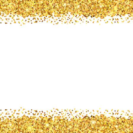 Gold sparkles on white background. Gold glitter background. Gold background for card Ilustração