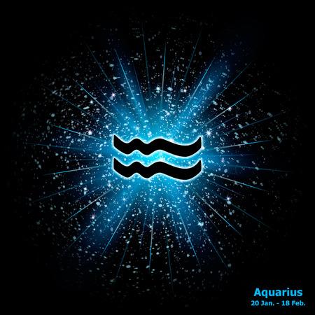 outburst: Zodiac sign Aquarius on cosmic explosion background. Vector illustration