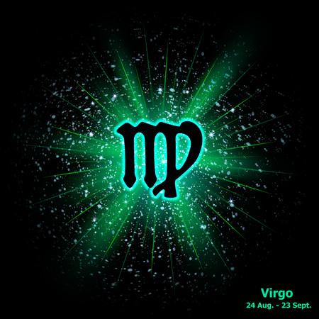 virgo: Signo zodiacal de Virgo en el fondo explosión cósmica. ilustración vectorial
