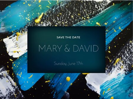 wedding reception decoration: Wedding invitation or card design on abstract painting background. Vector illustration