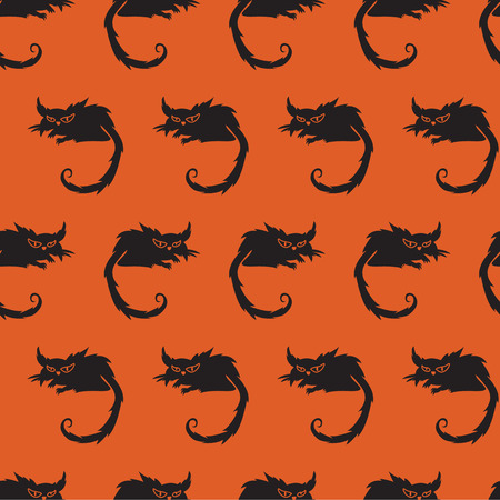 terrible: Seamless pattern with terrible cat on a orange background. Halloween background. Illustration
