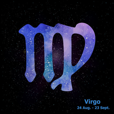 Watercolor sign of the zodiac Virgo on star space background. Free Hand drawing. Vector illustration.