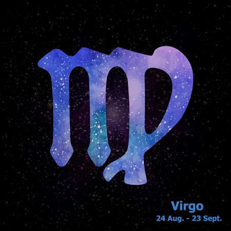 Waterverf teken van de dierenriem Maagd op sterren ruimte achtergrond. Vrije handtekening. Vector illustratie.