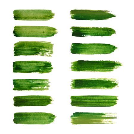 watercolor brush: Green labels. Ecology vector illustrations. Green watercolor brush