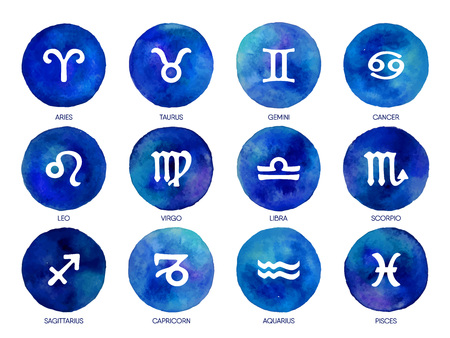 Zodiac icons on watercolor background. Freehand drawing.