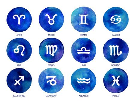Iconos del zodiaco en el fondo de la acuarela. Dibujo a mano alzada. Ilustración de vector