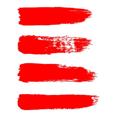 Painted grunge stripes set. Red  labels, background, paint texture. Brush strokes vector.