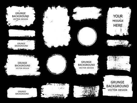 Set of white paint, ink brush strokes, brushes, lines. Dirty artistic design elements, boxes, frames for text.