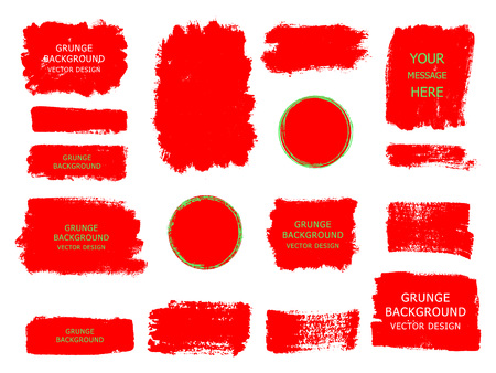 Set of red paint, ink brush strokes, brushes, lines. Dirty artistic design elements, boxes, frames for text.