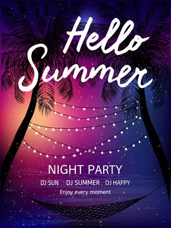 beach party: Summer tropical background  with palms, sky and sunset. Summer poster, flyer, invitation card. Summertime.