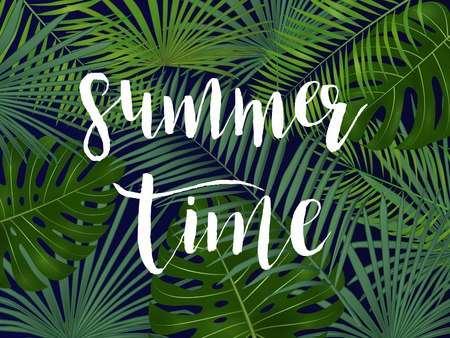 Summer tropical vector design for banner or flyer with  palm leaves and lettering.
