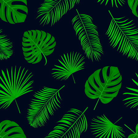 Seamless hand drawn  vector pattern with green palm leaves on dark background. Illustration