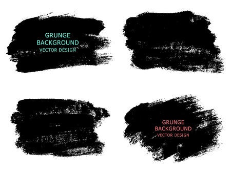 Set of black paint, ink brush strokes, brushes, lines. Dirty artistic design elements, boxes, frames for text.  Vector