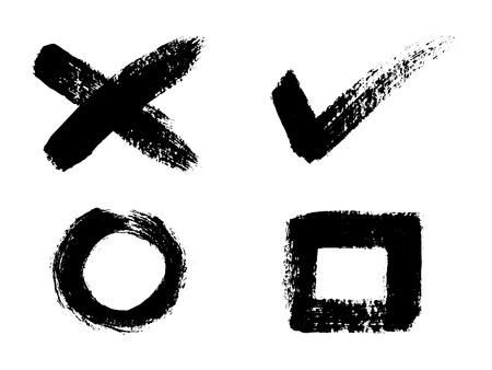 Set of black design elements, ink brush strokes, brushes, lines. Vector illustration