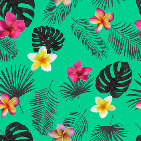 Seamless hand drawn tropical vector pattern with orchid flowers and exotic palm leaves on dark background. Illustration