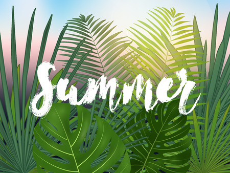 Summer tropical vector design for banner or flyer with  green palm leaves and lettering. Vector illustration Illustration