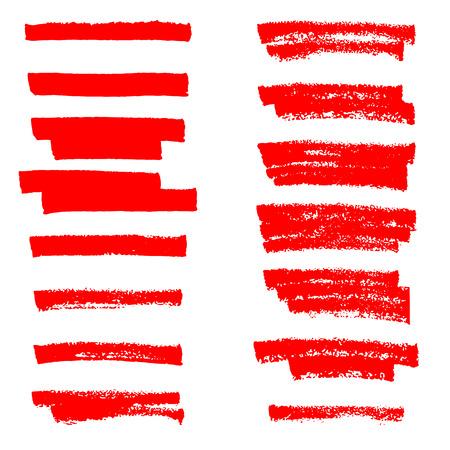 Líneas de pincel resaltador de vector. Dibujo a mano.