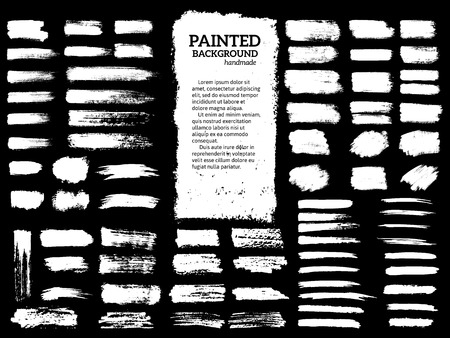 Painted grunge stripes set. Black  labels, background, paint texture. Brush strokes vector. Handmade design elements. Illustration