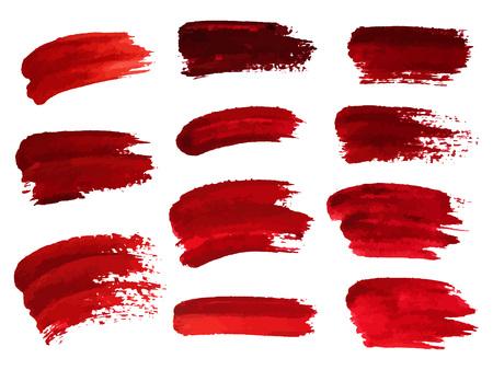 Rote Ölpinselstriche ähnlich Blut für Design, Element für Halloween. Vektor-Illustration. Standard-Bild - 85812876