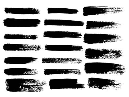 Painted grunge stripes set. Black  labels, background, paint texture. Brush strokes vector. Handmade design elements. Stock Photo