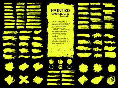 Painted grunge stripes set. Yellow  labels, background, paint texture. Brush strokes vector. Handmade design elements.