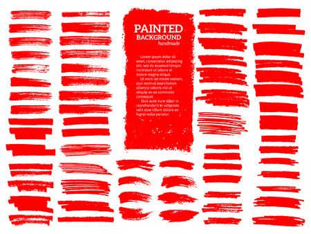 Geverfde grunge strepen set. Rode etiketten, achtergrond, verf textuur. Borstelslag vector. Handgemaakte designelementen.