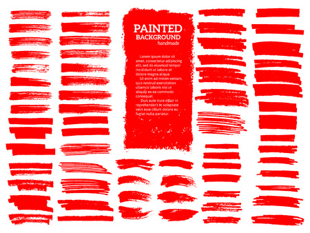 Painted grunge stripes set. Red  labels, background, paint texture. Brush strokes vector. Handmade design elements. 版權商用圖片 - 86482461