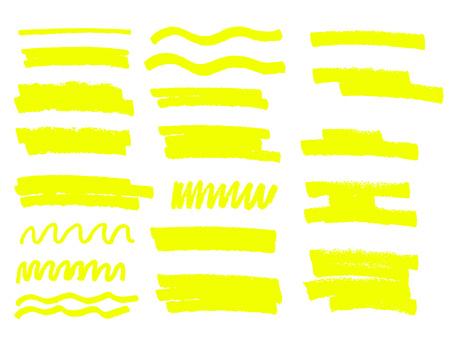Yellow vector highlighter brush lines hand drawing. 일러스트