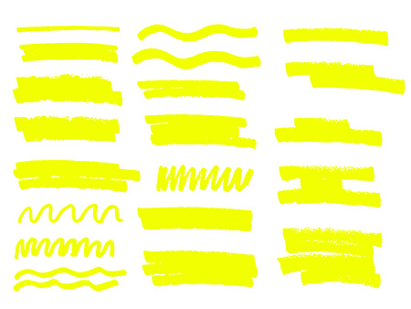 Yellow vector highlighter brush lines hand drawing. Vettoriali
