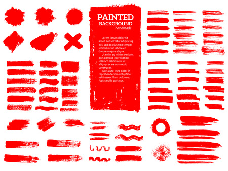 Painted grunge stripes set. Red labels, background, paint textur