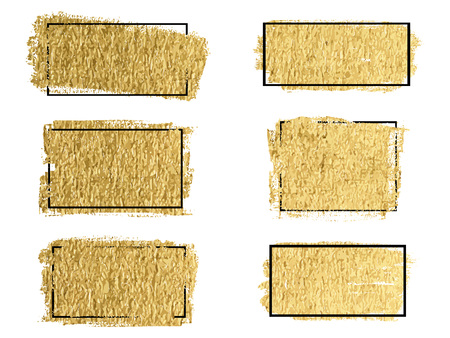 Gold paint, ink brush stroke, brush, line or texture vector.