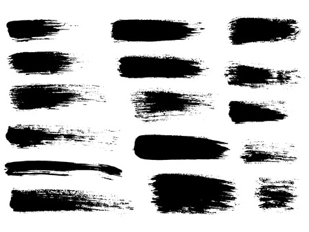 Painted grunge stripes set. Black labels, background, paint text Illustration