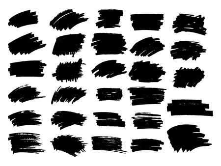 Zestaw czarnej farby, pociągnięcia pędzlem tuszem, pędzle, linie. Ilustracje wektorowe