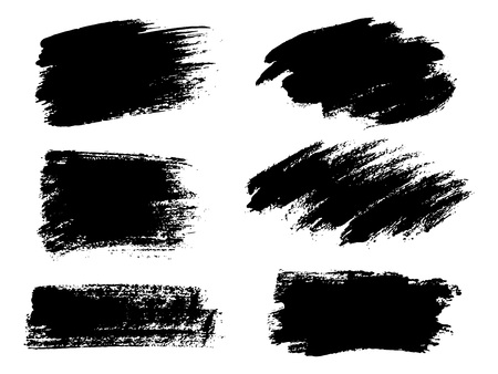 Painted grunge stripes set. Black labels, background, paint text Illusztráció