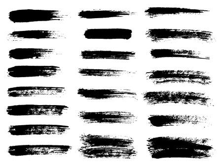 Painted grunge stripes set. Black labels, background, paint text Illustration