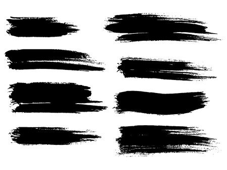 Painted grunge stripes set. Black labels, background, paint tex