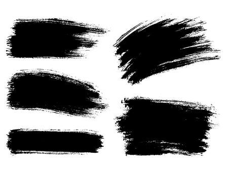 Painted grunge stripes set. Black  labels, background, paint text