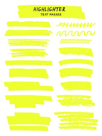 Linee di pennello evidenziatore giallo vettoriale su sfondo bianco. Disegno a mano.