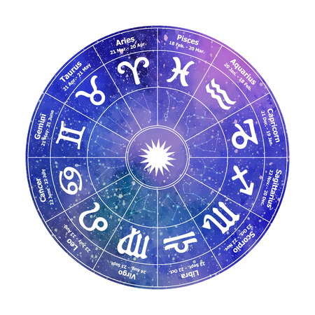 Circle with signs of  astrologyon  background. Vector ill